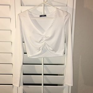 white long sleeve crop top LARGE